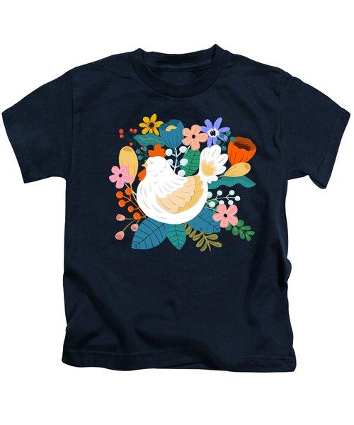 A Cheerful Chicken In A Sunny Garden Kids T-Shirt