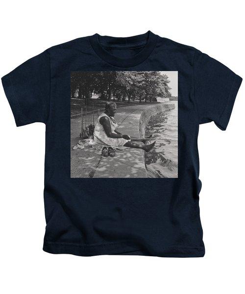 African American Woman Fishing At The Tidal Basin, Washington D C  Kids T-Shirt
