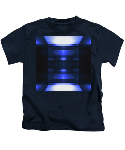 Blue Aluminum Surface. Metallic Geometric  Fashion Background Kids T-Shirt