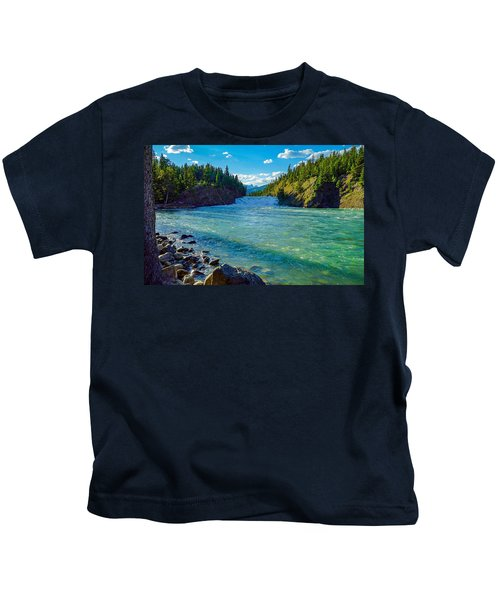 Bow River In Banff Kids T-Shirt