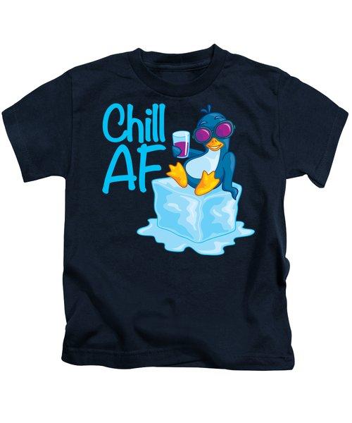 Chill Af Penguin On Ice Kids T-Shirt