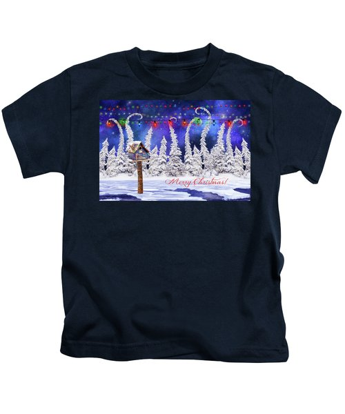 Christmas Card With Bird House Kids T-Shirt