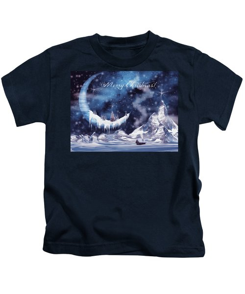 Christmas Card With Frozen Moon Kids T-Shirt