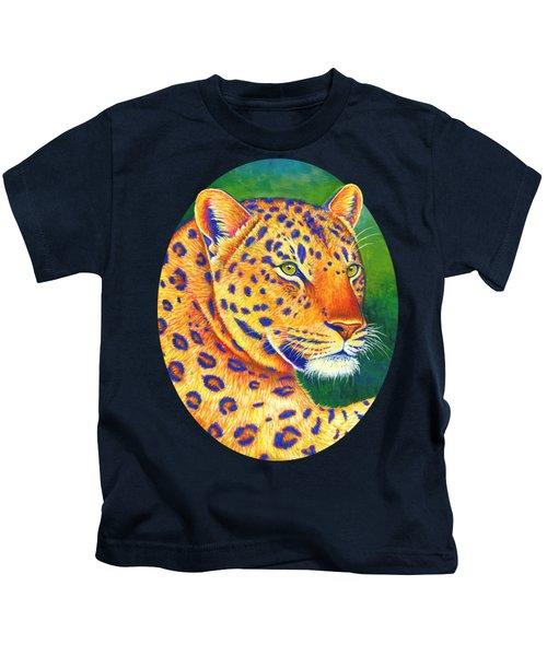 Colorful Leopard Portrait Kids T-Shirt