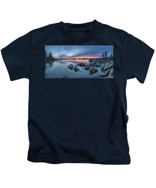 Colorful Sunset At Sand Harbor Panorama Kids T-Shirt