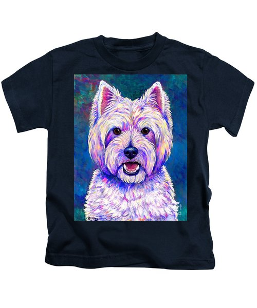 Colorful West Highland White Terrier Blue Background Kids T-Shirt