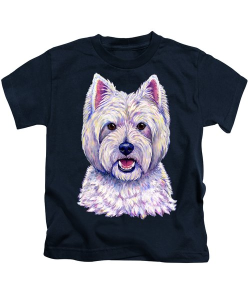 Colorful West Highland White Terrier Dog Kids T-Shirt