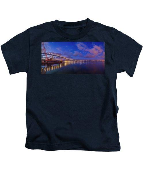 Coronado Bridge Sunrise - Panorama Kids T-Shirt
