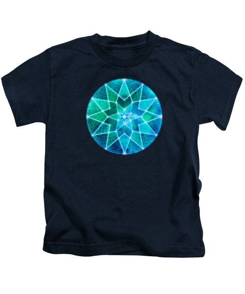 Cosmic Geometric Seed Of Life Crystal Turquoise Lotus Star Mandala Kids T-Shirt