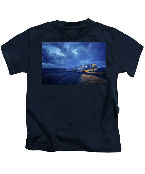 Dc-3 Plane Wreck Illuminated Night Iceland Kids T-Shirt