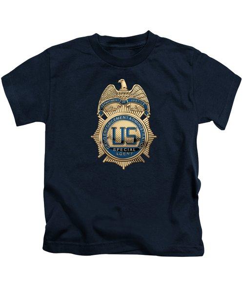 Drug Enforcement Administration -  D E A  Special Agent Badge Over Blue Velvet Kids T-Shirt