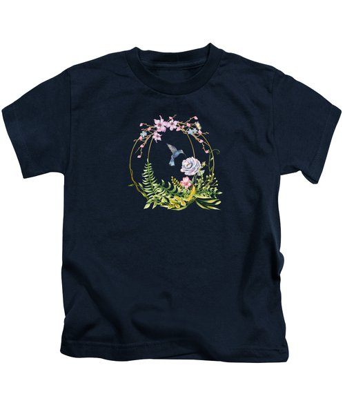 Glittering Golden Floral Hummingbird Terrarium Kids T-Shirt