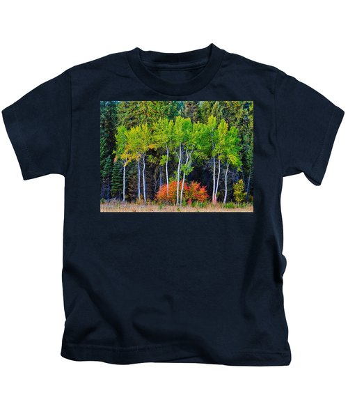 Green Aspens Red Bushes Kids T-Shirt