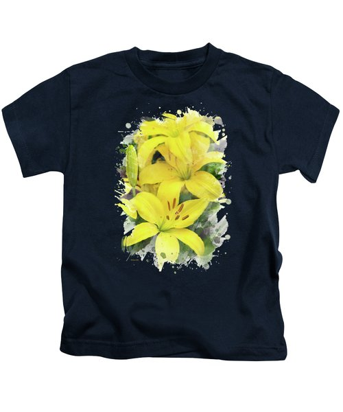 Lily Watercolor Art Kids T-Shirt