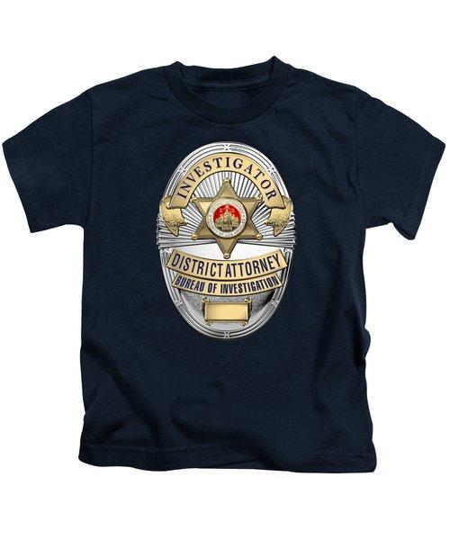 Los Angeles County District Attorney - Investigator Badge Over Blue Velvet Kids T-Shirt