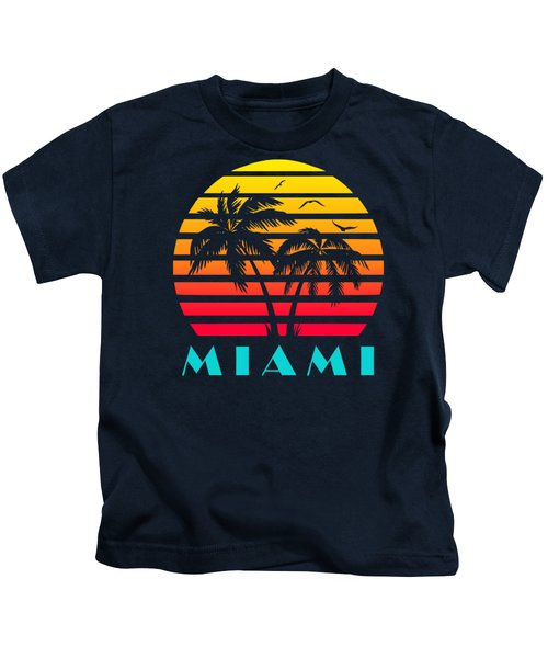Miami 80s Tropical Sunset Kids T-Shirt