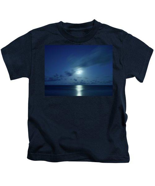 Moonrise Over The Sea Kids T-Shirt