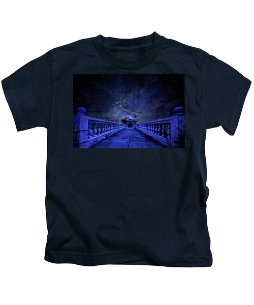 Night Sky Over The Temple Kids T-Shirt