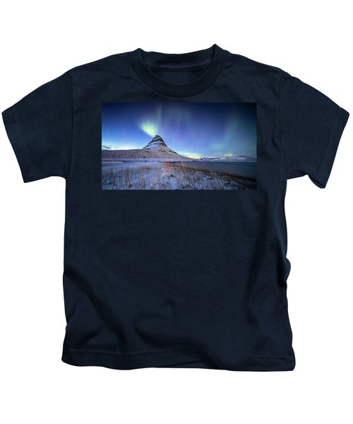 Northern Lights Atop Kirkjufell Iceland Kids T-Shirt