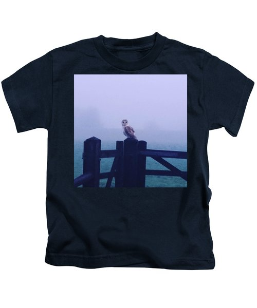 Owl In The Mist Kids T-Shirt