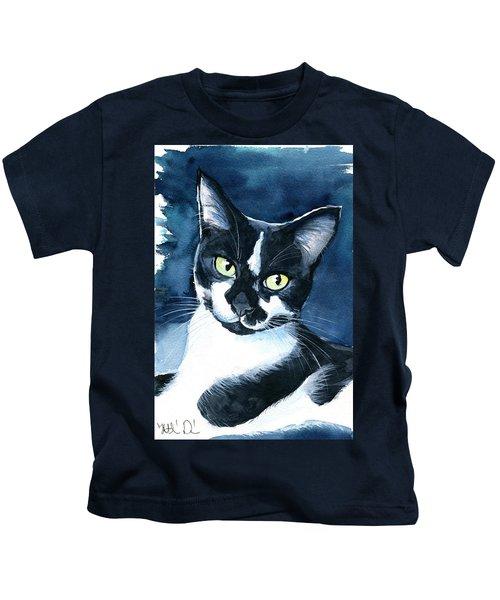 Rollie Tuxedo Cat Painting Kids T-Shirt