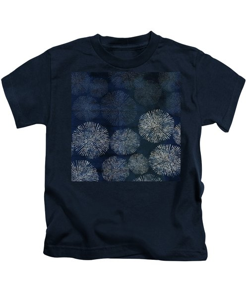 Shibori Sea Urchin Burst Pattern Dark Denim Kids T-Shirt