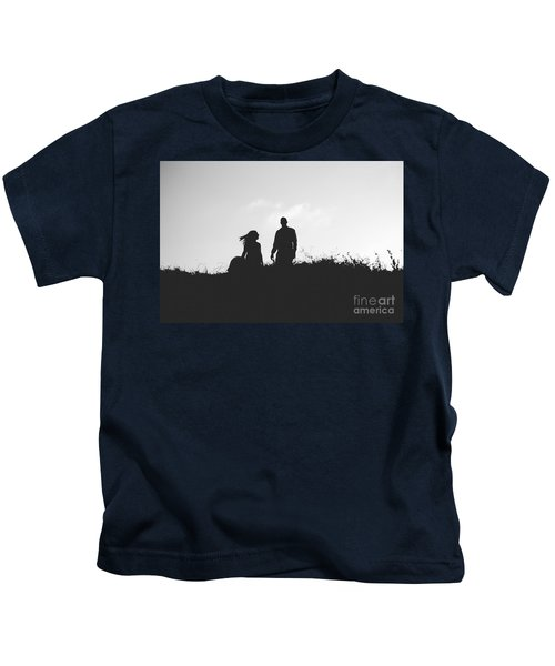Silhouette Of Couple In Love With Wedding Couple On Top Of A Hil Kids T-Shirt