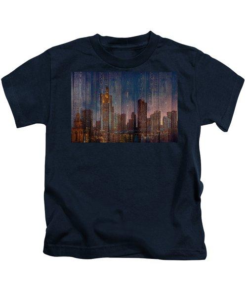 Skyline Of Frankfurt, Germany On Wood Kids T-Shirt