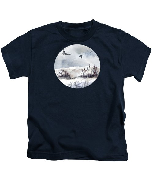 Soaring Above Sandy Beaches Against Stormy Skies Kids T-Shirt