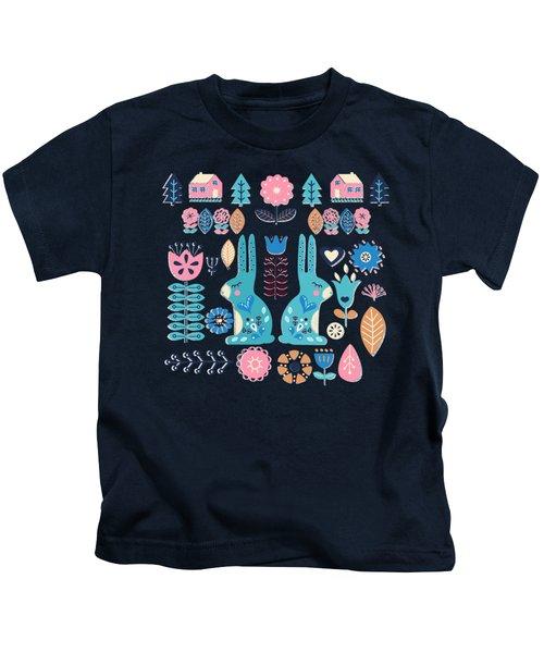 Soft And Sweet Scandinavian Bunny Rabbit Folk Art Kids T-Shirt