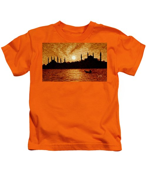 Sunset Over Istanbul Original Coffee Painting Kids T-Shirt