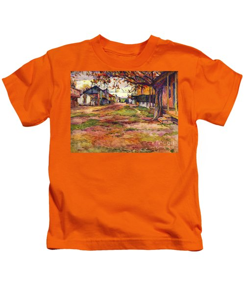 Main Street Of Early Spanish California Days San Juan Bautista Rowena M Abdy Early California Artist Kids T-Shirt