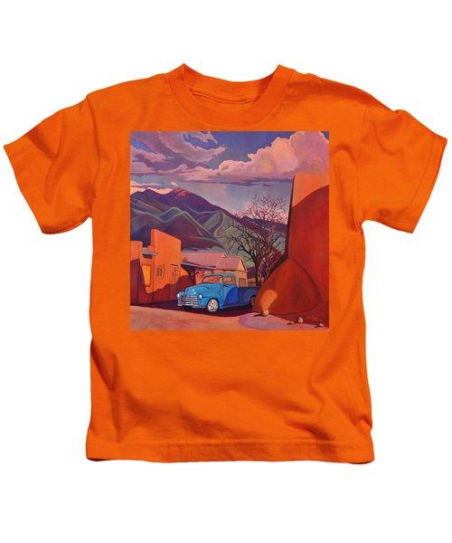 A Teal Truck In Taos Kids T-Shirt