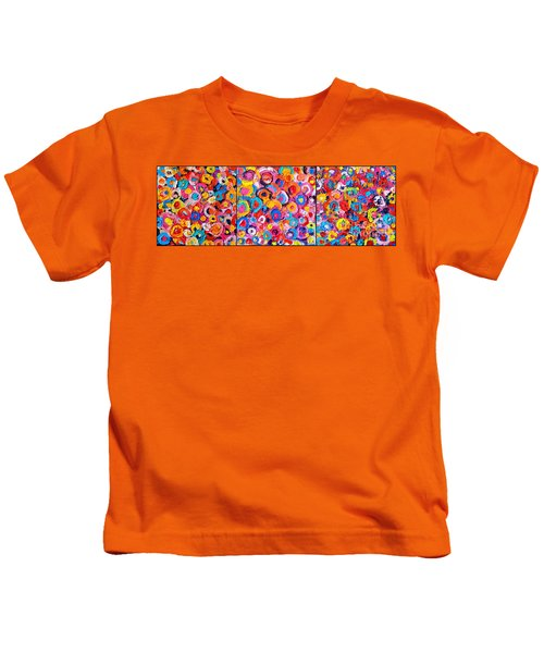 Abstract Colorful Flowers Triptych  Kids T-Shirt