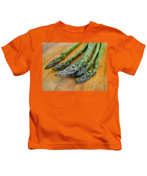 Asparagus Kids T-Shirt by Michelle Calkins