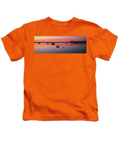 Boats In An Ocean At Sunset Kids T-Shirt