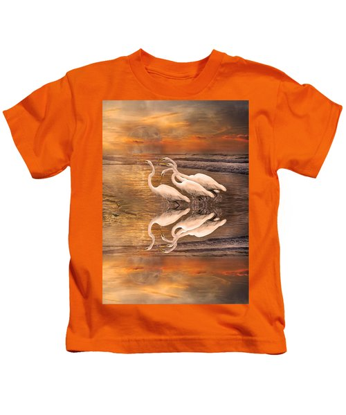 Dreaming Of Egrets By The Sea Reflection Kids T-Shirt by Betsy Knapp