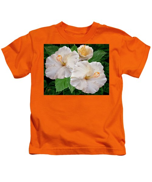 Dreamy Blooms - White Hibiscus Kids T-Shirt