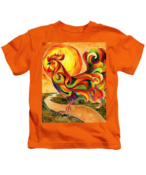 Fancy Feathers Rooster Kids T-Shirt