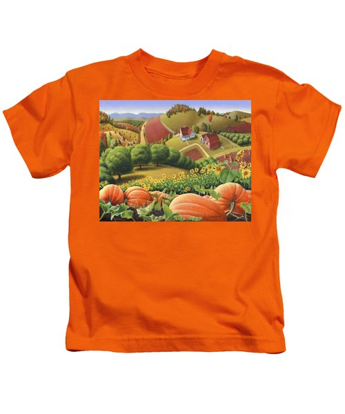 Farm Landscape - Autumn Rural Country Pumpkins Folk Art - Appalachian Americana - Fall Pumpkin Patch Kids T-Shirt