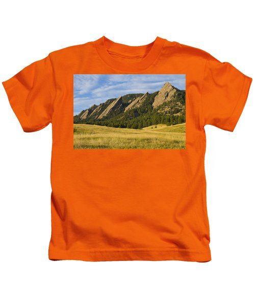 Flatiron Morning Light Boulder Colorado Kids T-Shirt