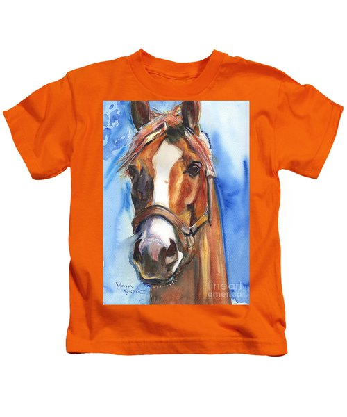 Horse Painting Of California Chrome Go Chrome Kids T-Shirt by Maria's Watercolor