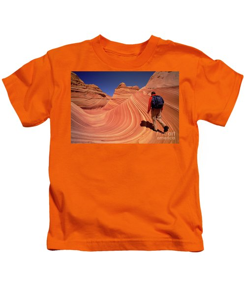Hiker On Petrified Dunes Kids T-Shirt