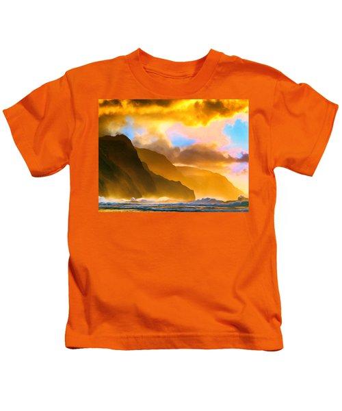 Ke'e Beach Sunset Kids T-Shirt