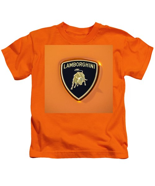 Kids T-Shirt featuring the photograph Lamborghini Emblem -0525c55 by Jill Reger