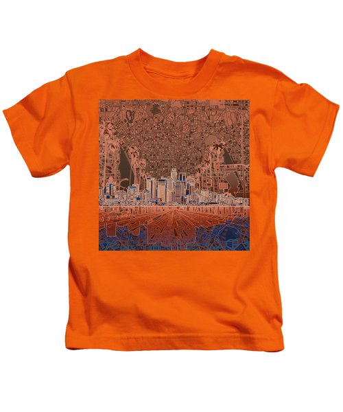Los Angeles Skyline Abstract 7 Kids T-Shirt