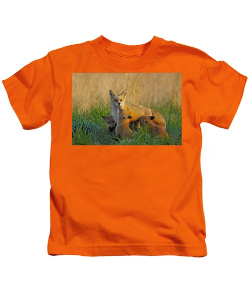Kids T-Shirt featuring the photograph Mother Fox And Kits by William Jobes