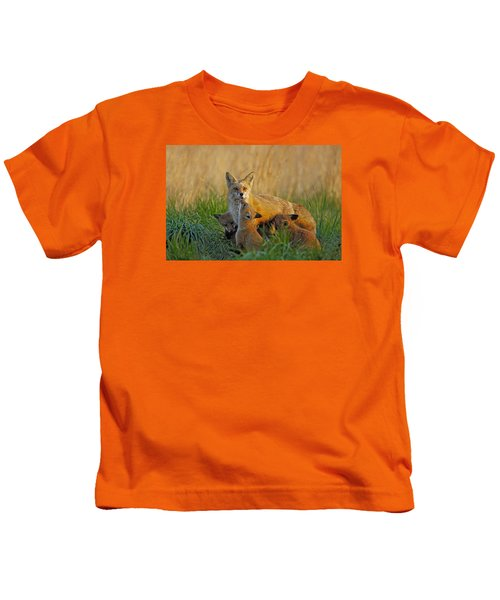 Mother Fox And Kits Kids T-Shirt