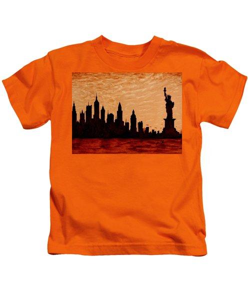 New York City Sunset Silhouette Kids T-Shirt