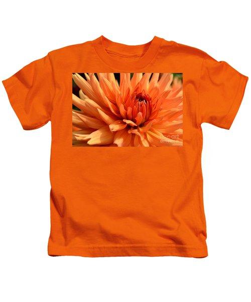 Orange Dahlia Kids T-Shirt